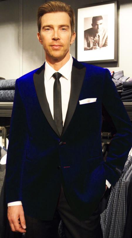 Dark Blue Velvet Sportcoat Jacket | Formal tux coats