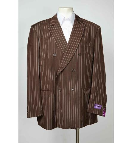 Coco Chocolate brown Pinstripe 6 Button Double Breasted Peak Collared Sport coat Jacket Best Cheap Blazer For Affordable Cheap Priced Unique Fancy For Men Available Big Sizes on sale Men Affordable Sport Coats Sale