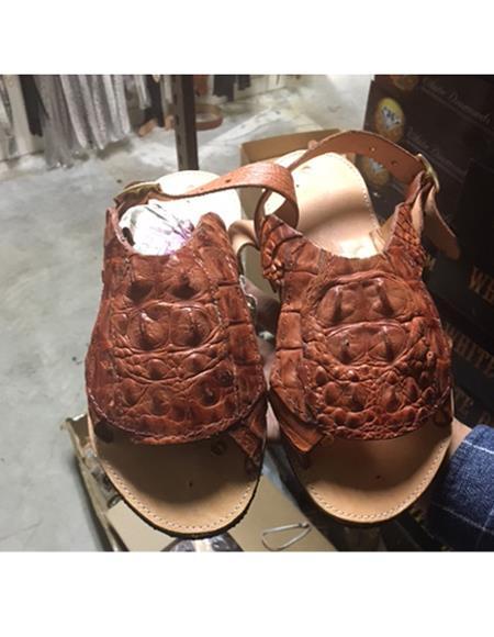 Mens Brown Exotic Skin Sandals