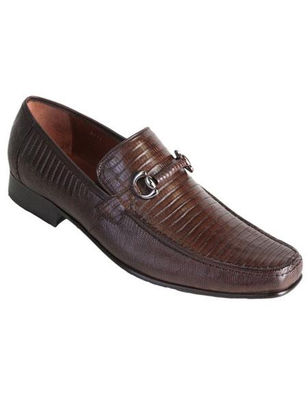 Los Altos Brown Exotic Teju Lizard Skin Slip-On Casual Dress Shoes