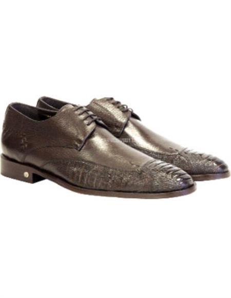 Vestigium Handmade Genuine Ostrich Leg Derby Shoes Brown