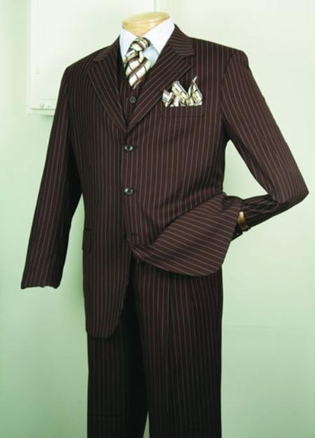 1940s Men's Suit History and Styling Tips Chalk pronounce visible Gangster Superior fabric 150s Luxurious Fashion three piece suit Classic Stripe  Pinstripe Design Coco Chocolate brown $140.00 AT vintagedancer.com