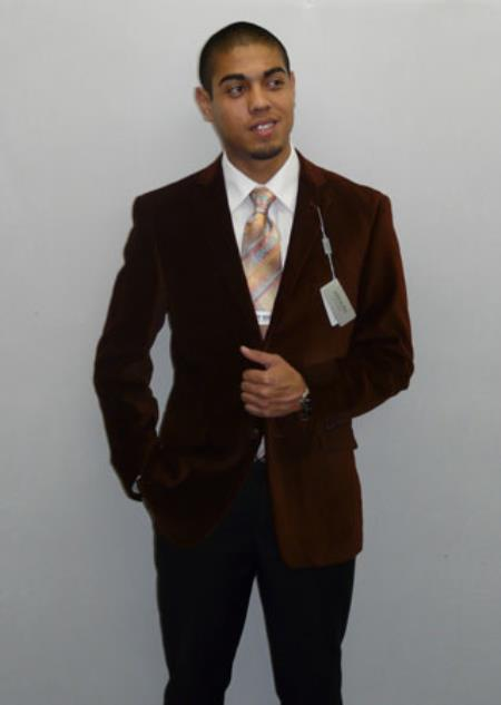 Adolfo Formal or trendy informal casual Spice Coco Chocolate brown Velvet Best Cheap men's Blazer Affordable Cheap Priced Unique Fancy For Men Available Big Sizes on sale Men Affordable Sport Coats Sale Dancing Jacket