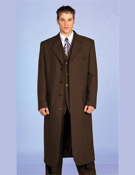 Men's Vintage Style Coats and Jackets Maxi King Style Fashion Suit 3 Piece Vested Dark Brown Zoot JacketPantsLong Maxi Coat $161.00 AT vintagedancer.com