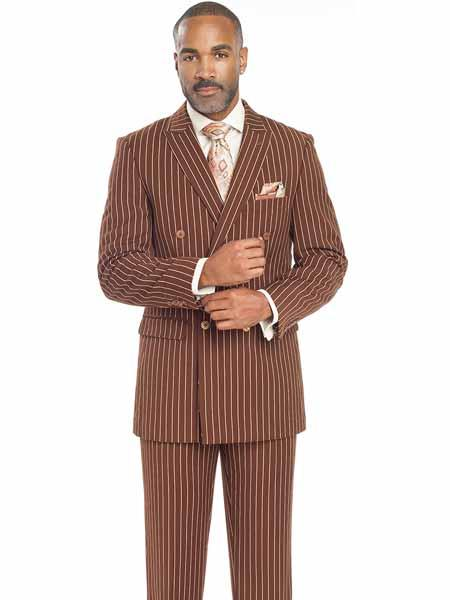 1920s Mens Suits Mens Bold Chalk Stripe  White Pinstripe Brown Pleated Pants Gangster Suit $138.00 AT vintagedancer.com