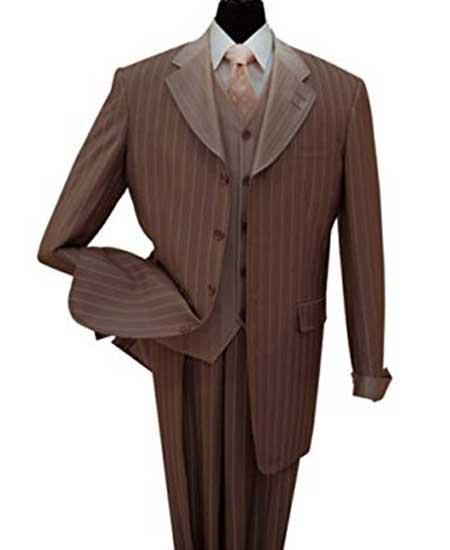 Brown Wool Vest Suit