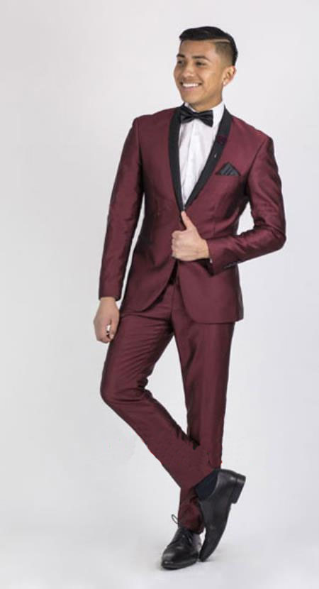 Burgundy Suit Sale, Dark color black Collared Dinner Jacket