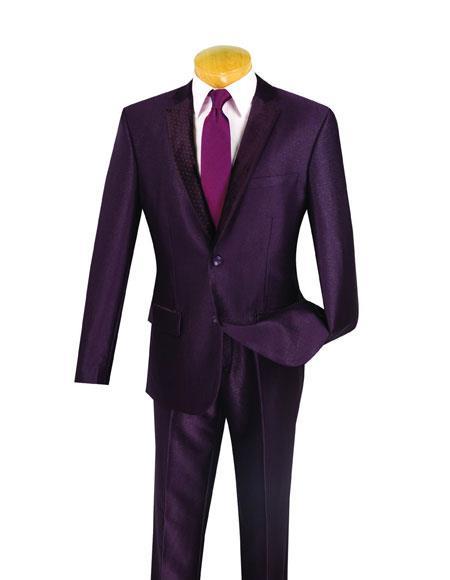 Mens Burgundy Color Wool Suit