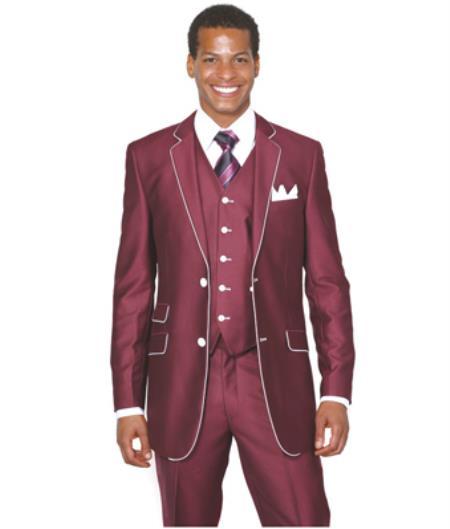 Slim Style Suit by Milano Moda Burgundy Shiny 3 Piece Wine M