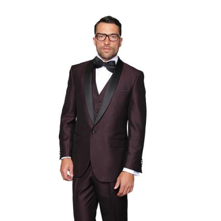 Three Piece Shawl Collared Vested Dinner Jacket ~ Wedding Groomsmen Tuxedo 2020 Best Inexpensive ~ Cheap ~ Discounted Blazer For Men Affordable Sport Coats Sale ~ Burgundy Tuxedo