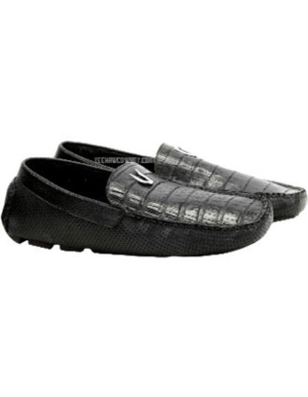 Vestigium Genuine Caiman Black Belly Loafers Handcrafted