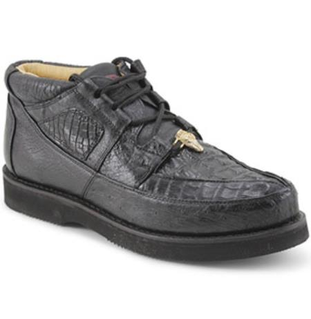 Authentic Los altos Genuine Caiman skin & Ostrich Padded Collar Dark color black Shoes for Men