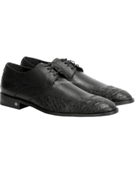 Vestigium Full Leather Men's Genuine Caiman Belly Derby Shoes Black