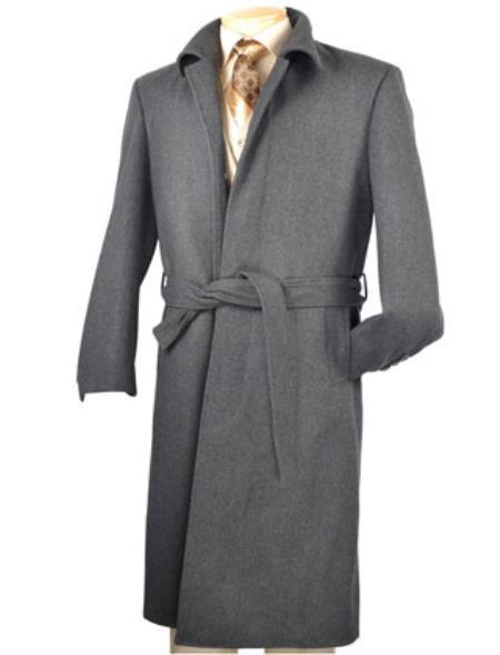 1950s Men's Jackets Mens Vinci Charcoal Blend  Full Length Belted Overcoat $197.00 AT vintagedancer.com