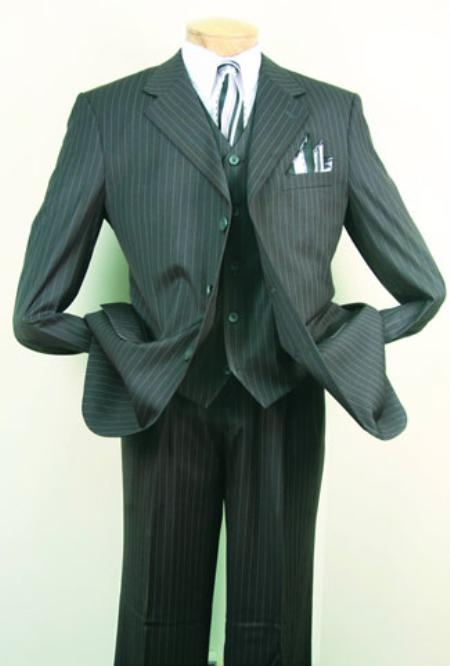 1940s Mens Suits | Gangster, Mobster, Zoot Suits Superior fabric 150s Luxurious Fashion three piece suit Charcoal Masculine color $140.00 AT vintagedancer.com