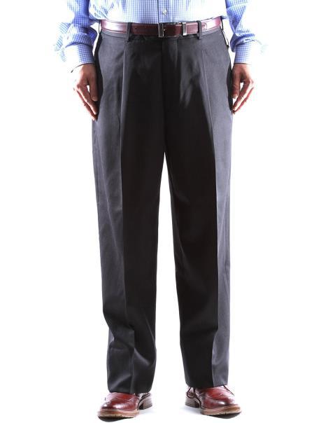 Charcoal Gabardine Fabric 100 Wool Dress Pants Pleated Pant