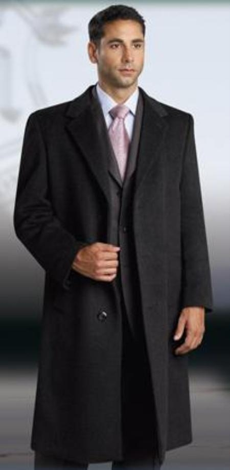 Men's Vintage Style Coats and Jackets 38 Inch Charocal Gray classic model features button front WoolCashmere Overcoat $150.00 AT vintagedancer.com