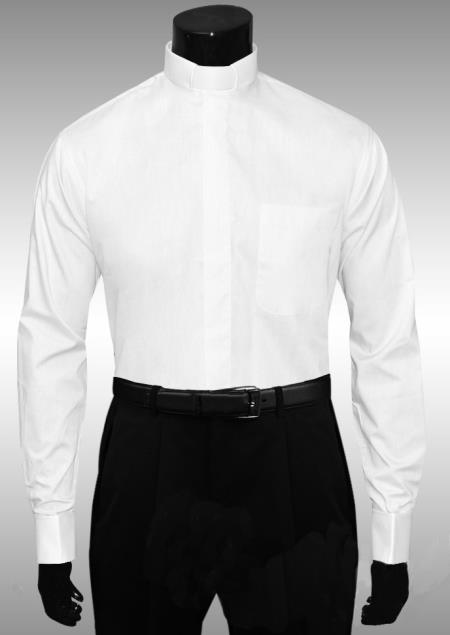 White clergy tab collar french cuff shirt for French cuff mens shirts