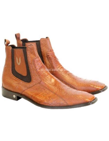 Vestigium Genuine Ostrich Leg Chelsea Boots Cognac Handcrafted
