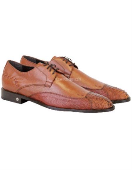 Vestigium Full Leather Lining Genuine Ostrich Leg Derby Shoes Cognac