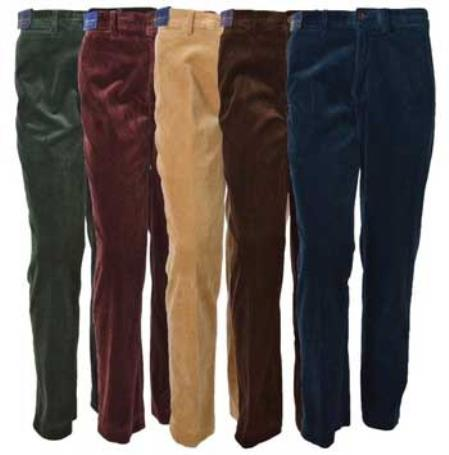 Men's Corduroy Pleated Dress Pants