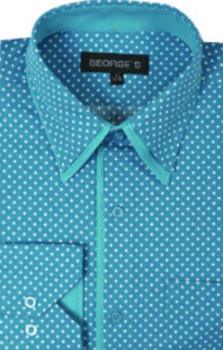 Men's Vintage Style Shirts George Cotton Polka Dot Design Dress Shirt Aqua Turquoise $36.00 AT vintagedancer.com