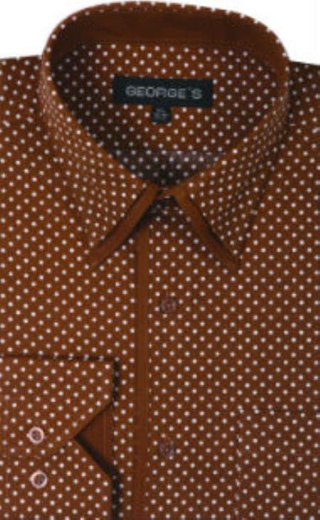 1960s Men's Clothing, 70s Men's Fashion George Cotton Polka Dot Design Dress Shirt Coco Chocolate brown $36.00 AT vintagedancer.com