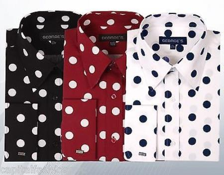 1950s Men's Clothing Cotton Dress Shirt Polka Dot Pattern Formal Or trendy informal casual Multi-color $56.00 AT vintagedancer.com