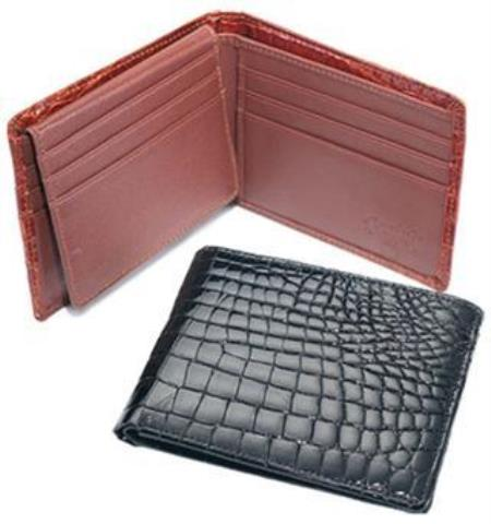Ferrini Genuine crocodile skin Wallet Dark color black,Cognac