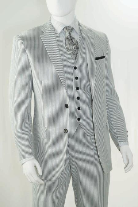 1920s Men's Suits History Big  Tall Summer seersucker Pattern Suit Dark color black $176.00 AT vintagedancer.com