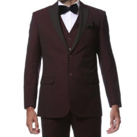 Slim Fitted Skinny Tapered Trimmed Peak Collared Burgundy Dark color black Tuxedo ~ Burgundy Tuxedo