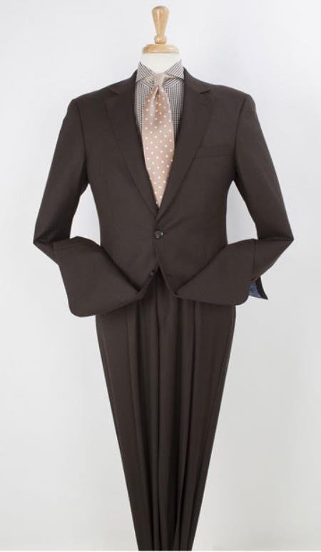 Apollo King Notch Collared 2 Piece  Wool fabric Wide Leg 22Inch Pant Suit Dark Brown