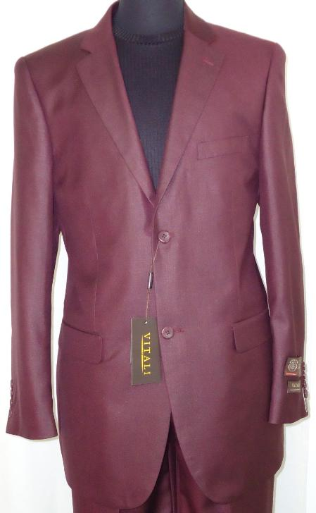 Mens-Designer-2-Button-Shiny-Burgundy-Sharkskin-Suit-11265.Jpg
