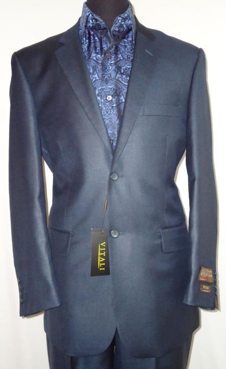 Mens Designer 2 Button Shiny Navy Blue Sharkskin Suit
