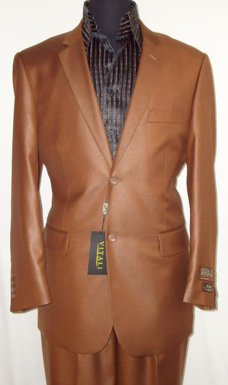 Mens Designer 2 Button Shiny Rust Sharkskin Suit