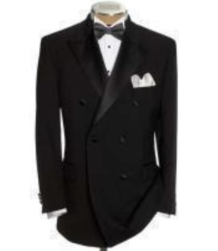 1920s Mens Evening Wear: Tuxedos and Dinner Jackets Double Breasted Tuxedo Shirt  Bow Tie Package 6 on Two buttons Closer Style Jacket $150.00 AT vintagedancer.com