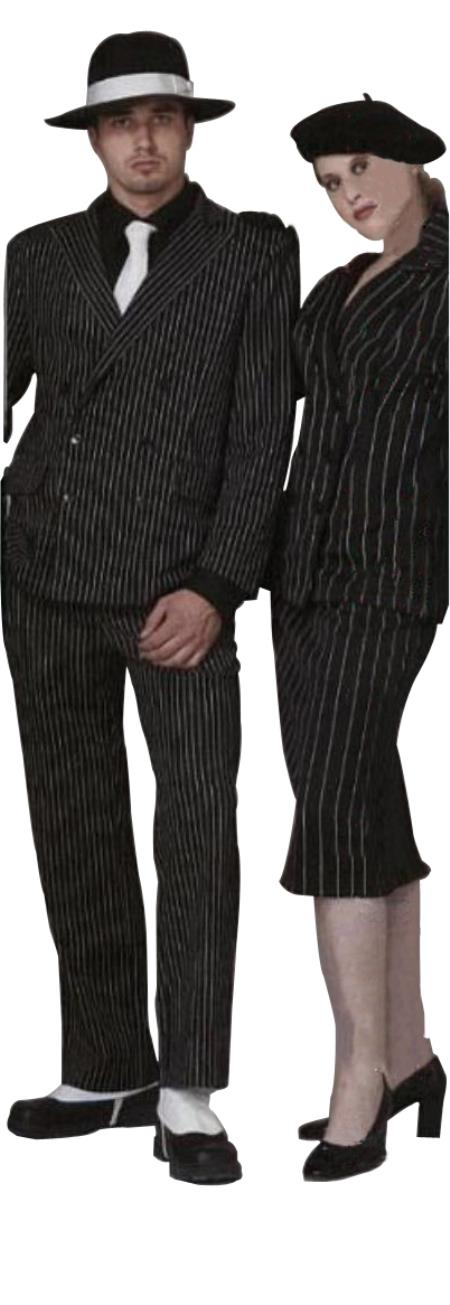 1940s Zoot Suit History & Buy Modern Zoot Suits Classic Gangster Jet Dark color black  White Pinstripe Double Breasted Fashion Suits for Men Not Long length  $140.00 AT vintagedancer.com