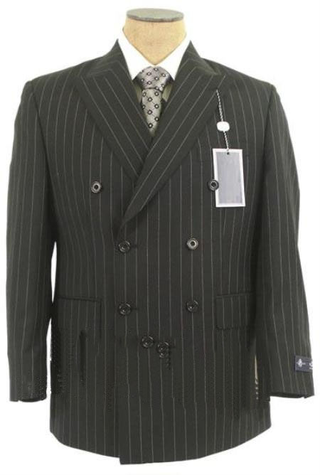 Mens Double Breasted Black Suit