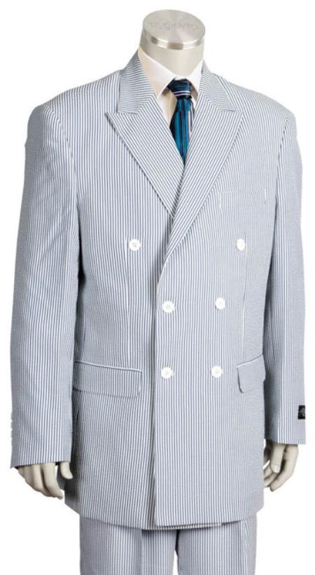 Unique Double Breasted Summer seersucker Pattern Suit
