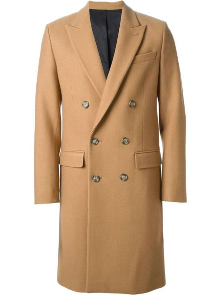 Men's Vintage Style Coats and Jackets CashmerAC-646 Cashmere Double Breasted Long length Topcoat Peacoat overcoats for men Wide Peak Collared 6 buttons Camel  Khaki $300.00 AT vintagedancer.com