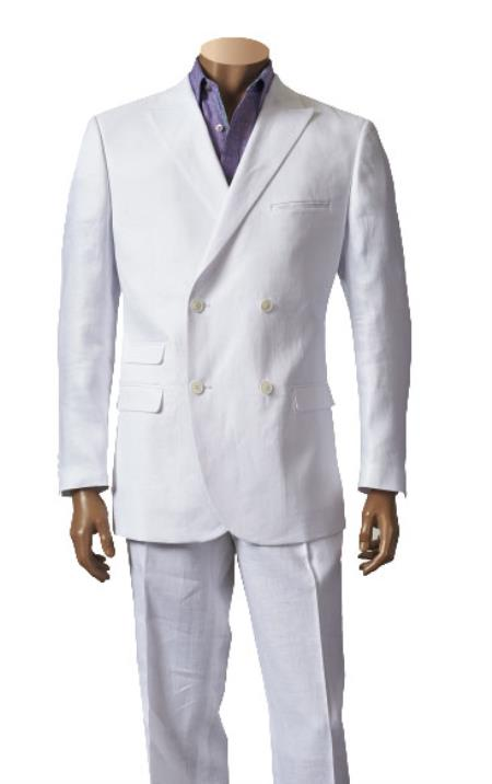 1920s Mens Suits | Gatsby, Gangster, Peaky Blinders Double Breasted Linen Suit Sportcoat Jacket Sport Coat Jacket and Flat Front Pants Style White $300.00 AT vintagedancer.com