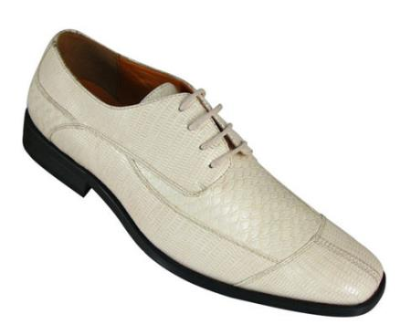 Milano Moda Oxfords Faux Leather skin Embossed Shoes for Men Cream