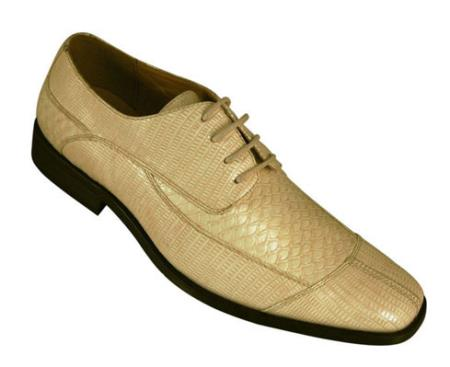 Milano Moda Oxfords Faux Leather skin Embossed Shoes for Men Tan