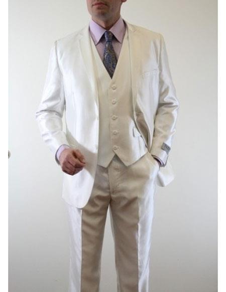 Mens Five Buttons Ivory Suit