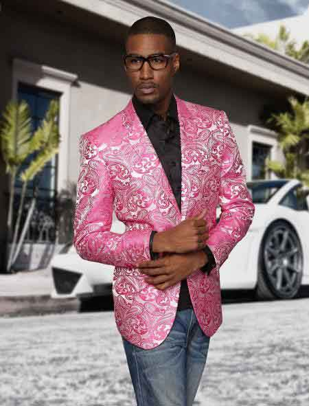 2 Button Floral Pattern Pink Best Cheap Blazer For Affordable Cheap Priced Unique Fancy For Men Available Big Sizes on sale Men Affordable Sport Coats Sale