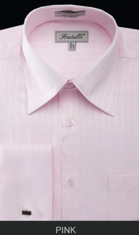 Fratello French Cuff Pink Dress 18 19 20 21 22 Inch Neck Inexpensive ~ Cheap ~ Discounted Fashion Clearance Shirt Sale Online For Men - Herringbone Tweed Stripe Big and Tall  Large Man ~ Plus Size Suits Sizes