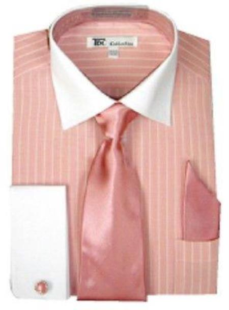 Stylish Classic French Cuff Striped Dress Cheap Fashion Clearance Shirt Sale Online For Men with Tie and cuff Pink