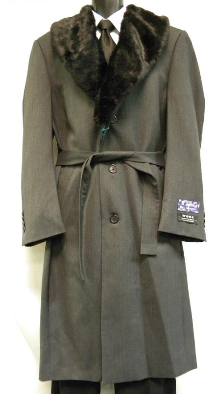 1920s Mens Coats & Jackets History Full Length Fur Collar Gray Belted Top Coat $200.00 AT vintagedancer.com