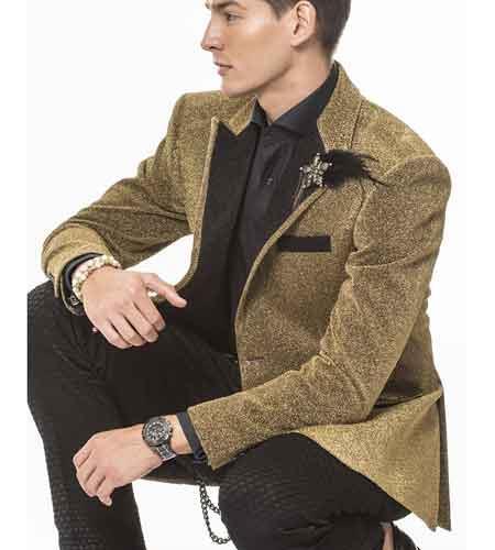 Men's Angelino Celebratory Gold Sparkling Fabric Peak Lapel Coat/Blazer Sport