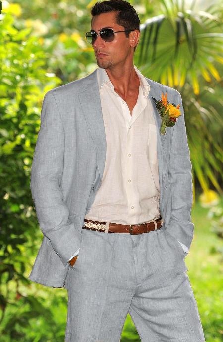 Light Gray Linen Suit, Cheap Summer Suit, Flat Front Pants